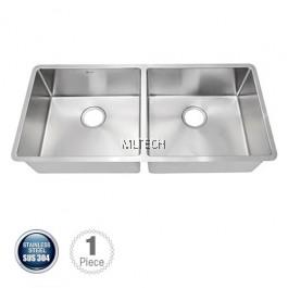 AMKS-9744 Undermount Double Bowl Kitchen Sink C/W S/S Waste