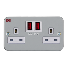 240/250V Metal-Clad Switched Sockets - 13A 2 Gang Switched W/Neon