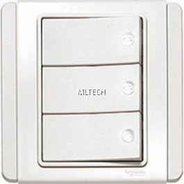 Neo Series - 10A 3 Gang 1 Way Switch With White LED, White