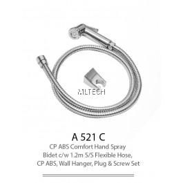 A521C CP ABS Comfort Hand Spray Bidet c/w 1.2m S/S Flexible Hose, CP ABS, Wall Hanger, Plug & Screw Set