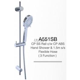 A551SB CP SS Rail c/w CP ABS Hand Shower & 1.5m s/s Flexible Hose (3 Function)
