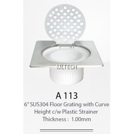 "A113 6"" SUS304 Floor Grating With Curve Height c/w Plastic Strainer (Thickness: 1.0mm)"
