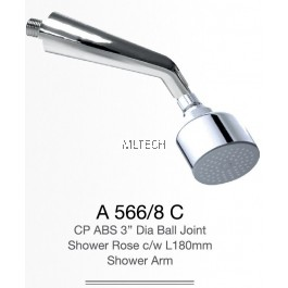 "A566/8C CP ABS 3"" Dia Ball Joint Shower Rose c/w L180mm Shower Arm"