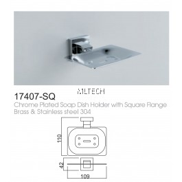 17407-SQ Chrome Plated Soap Dish Holder With Square Flange Brass & Stainless Steel 304