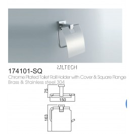 174101-SQ Chrome Plated Toilet Roll Holder With Cover & Square Flange Brass & Stainless Steel 304