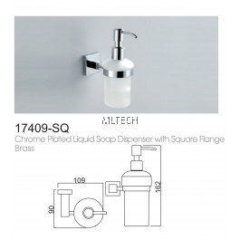 17409-SQ Chrome Plated Liquid Soap Dispenser With Square Flange Brass