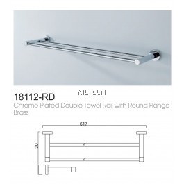 18112-RD Chrome Plated Double Towel Rail With Round Flange Brass