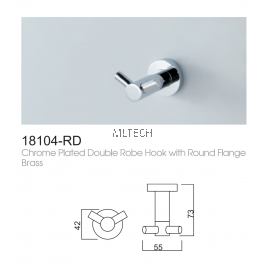 18104-RD Chrome Plated Double Robe Hook With Round Flange Brass