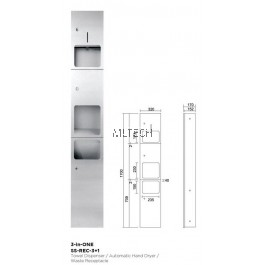 Novatec Receptacle Paper Towel Dispenser 3-in-ONE - SS-REC-3+1
