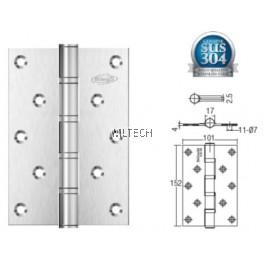 "Door Hinges - SGDH-764040-SS 4BB 6"" x 4"" x 4mm SUS304 Hinge"